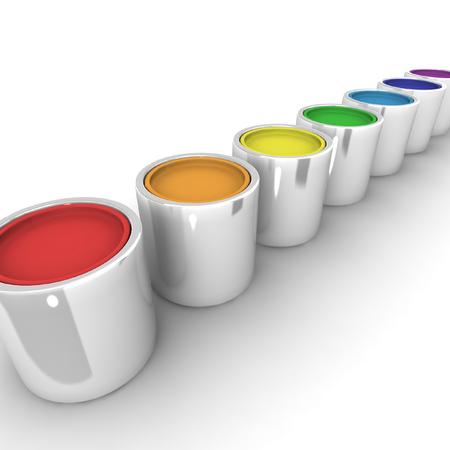 Pots of paint. 3D render. Stock Photo