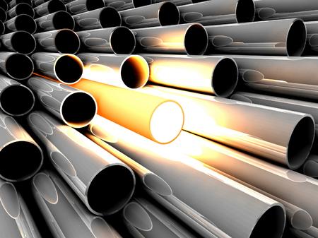 overheated: 3D chrome tubes with overheated tube Stock Photo