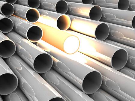 overheated: 3D chrome tubes with overheated tube.  Stock Photo