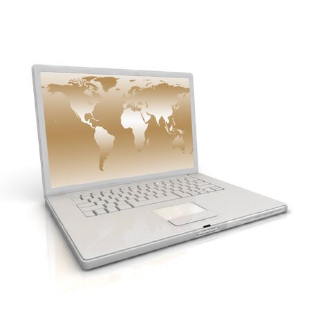 3D professional Laptop isolated on white background with worldmap. photo