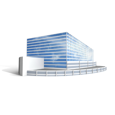 business building: Modern office on white background, 3D render. Stock Photo