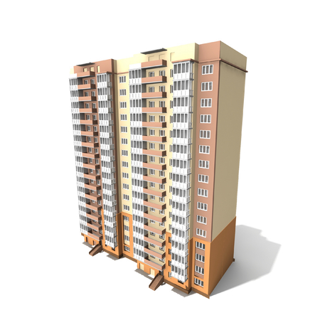 apartment abstract: Modern building on white background, 3D render.
