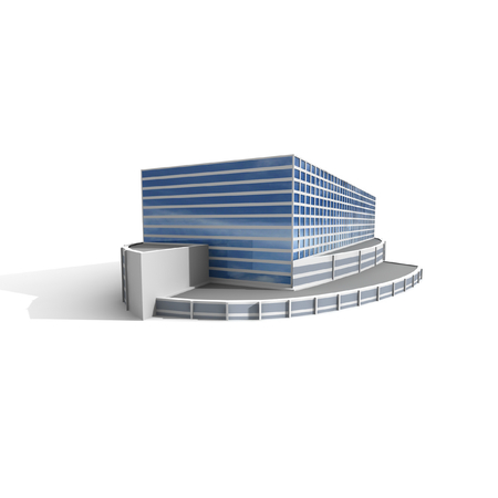 steel building: Modern office on white background, 3D render. Stock Photo