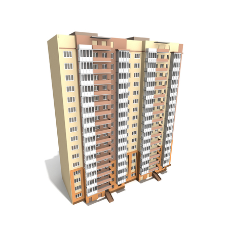 Modern gebouw op een witte achtergrond, 3D render.