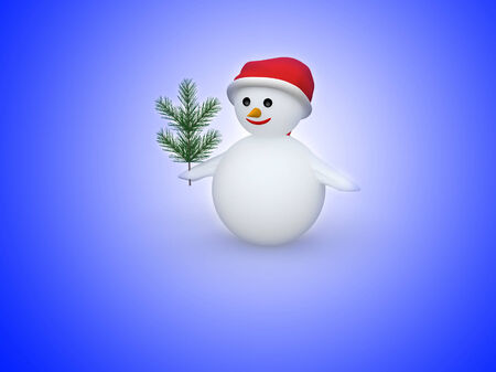 3D snowman with Santa Claus hat and pine branch on white background photo
