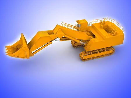 bulldozer-excavator isolated on white photo