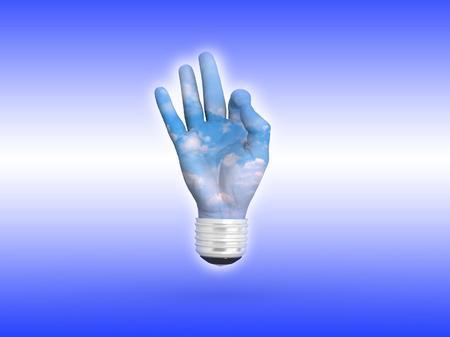 3D lightbulb - hand OK with sky. Concept - eco energy. photo