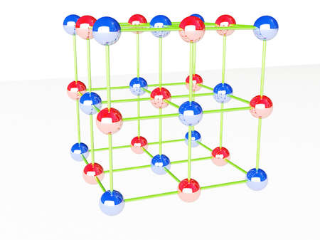 Molecular crystalline lattice, 3D render. photo