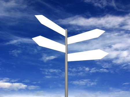 blank road sign: Signpost on beautiful background of blue sky. 3D render.