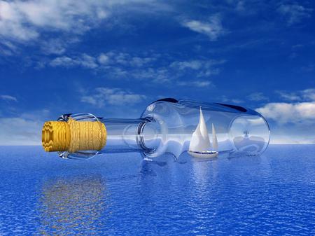 Luxe jacht in de fles zeilen Stockfoto
