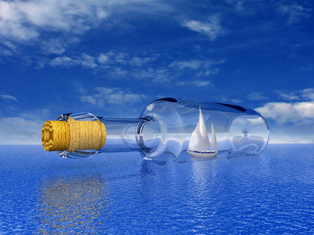 Sailing luxury yacht in the bottle