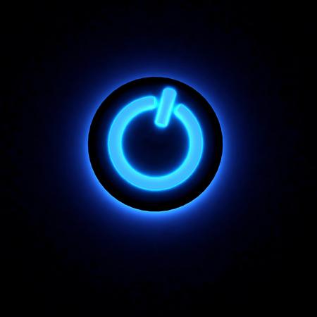 3D power button lighting in darkness. Standard-Bild