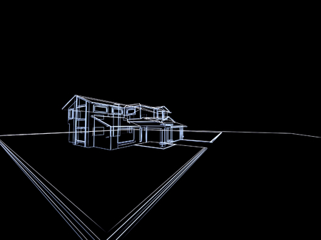 model: 3D abstract cottage. Concept - modern architecture and designing.