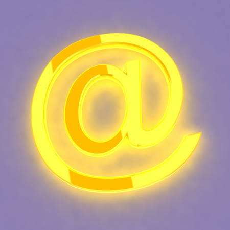 3D abstract golden E-mail symbol photo