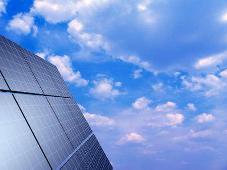 Solar panel against blue sky. Concept - echo energy. photo