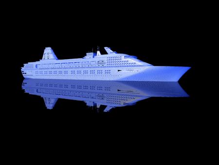 luxury yacht model isolated on black background photo