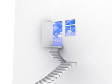 Exit with stairway, door and window. Concept - eco house. photo