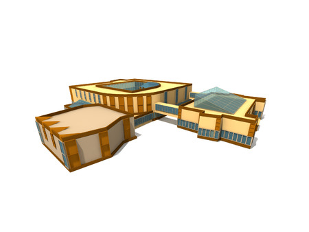 3D complex of modern buildings. photo