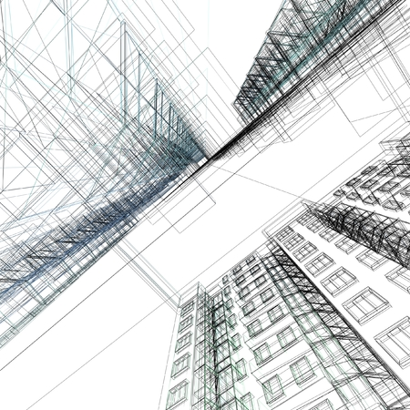 architecture: Abstract architectural 3D construction. Concept - modern architecture and designing.