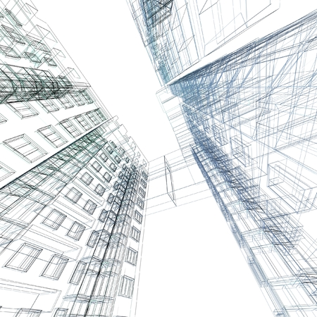 blue lines: Abstract architectural 3D construction. Concept - modern architecture and designing.