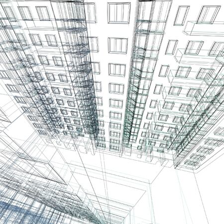 designing: Abstract architectural 3D construction. Concept - modern architecture and designing.