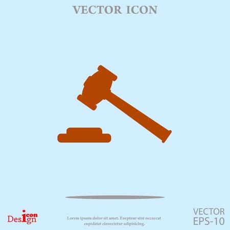 criminal act: hammer judge vector icon