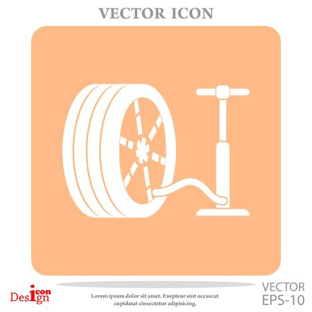 inflate: pump and tire vector icon Illustration