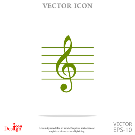 crotchets: music key vector icon Illustration