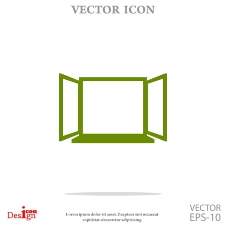 architectural styles: open window vector icon Illustration