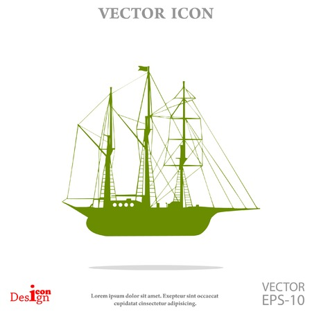 brigantine: sailing ship vector icon