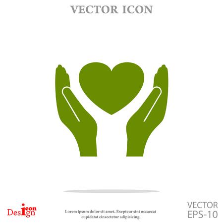 heart hand: heart in hand vector icon Illustration