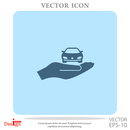 car with hand vector icon