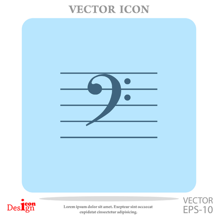crotchets: bass music key vector icon Illustration