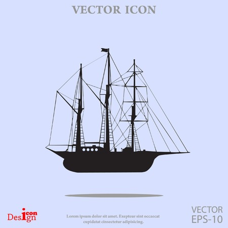 tall ship: sailing ship vector icon