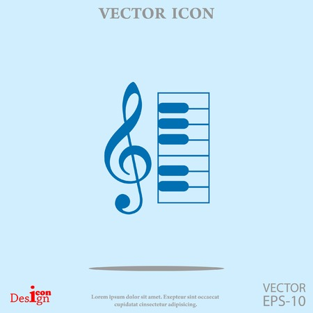 music key and keyboard vector icon
