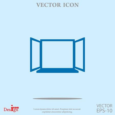 architectural styles: open window vector icon Illustration