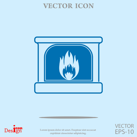 hot stones: fireplace vector icon