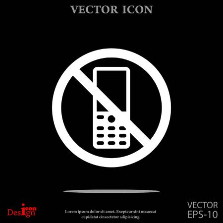 no cell phone: turn off phone vector icon Illustration