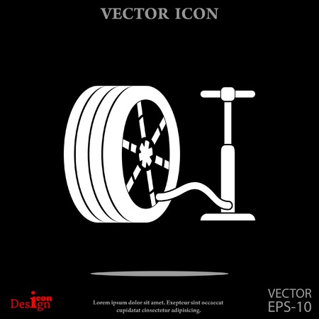 durability: pump and tire vector icon Illustration