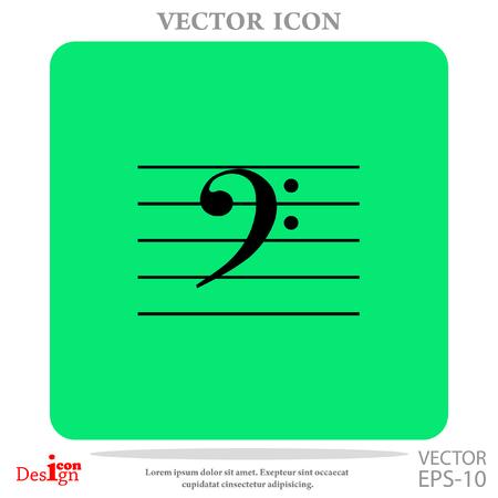 key signature: bass music key vector icon Illustration