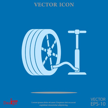 low tire: pump and tire vector icon Illustration