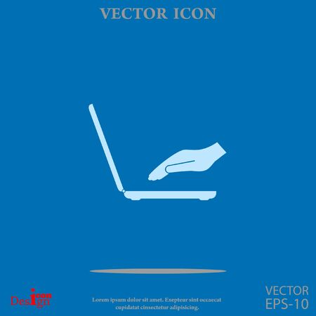 laptop with hand vector icon Illustration