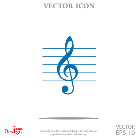 crotchets: music key vector icon Illustration