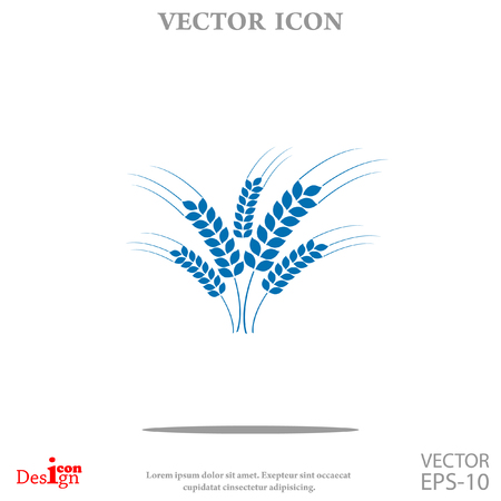 hay field: wheat ears vector icon Illustration