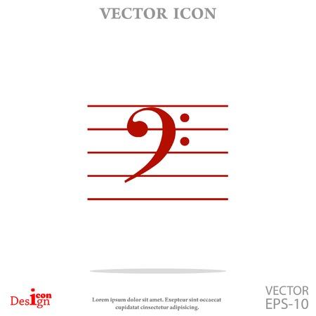 crotchets: bass music key vector icon Illustration