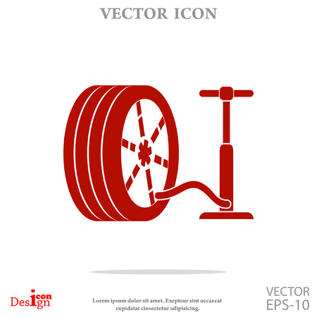 bicycle pump: pump and tire vector icon Illustration