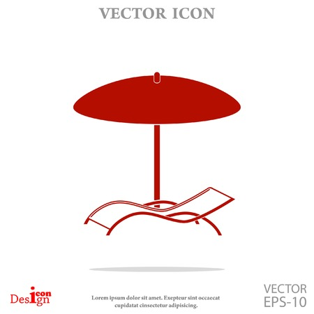 daybed: chaise longue under umbrella vector icon