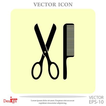 comb: scissors and comb vector icon