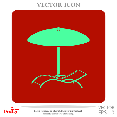 under the bed: chaise longue under umbrella vector icon