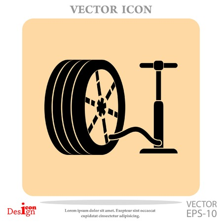 air gauge: pump and tire vector icon Illustration